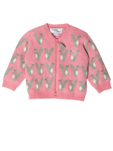 BABY AND KIDS COTTON AND CASHMERE MIX PINK JACKET WITH SQUIRREL JAUQARD 'HAMISH' 1