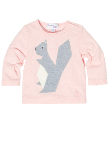 BABY AND KIDS PINK COTTON T-SHIRT WITH SQUIRREL APPLIQUE 'HUNTER' 1