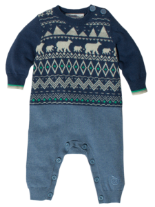 BLUE BABY COTTON AND CASHMERE MIX PLAYSUIT WITH A POLAR FAIRISE PATTERN 'MILTON' 1