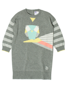 GREY MULTI COLOURED COTTON BABY AND CHILD SWEATER DRESS WITH OWL MOTIF 'DOTTIE' 1